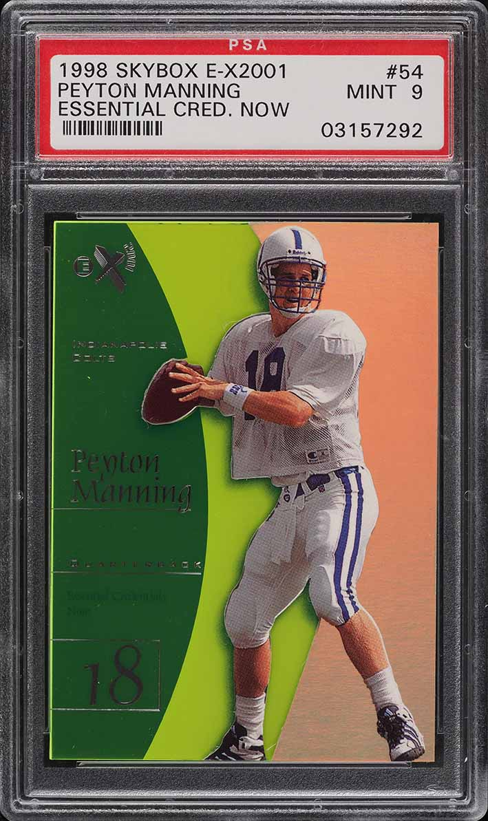 1998 Skybox E-X2001 Essential Credentials Now Peyton Manning ROOKIE 18/54 PSA 9 - Image 1