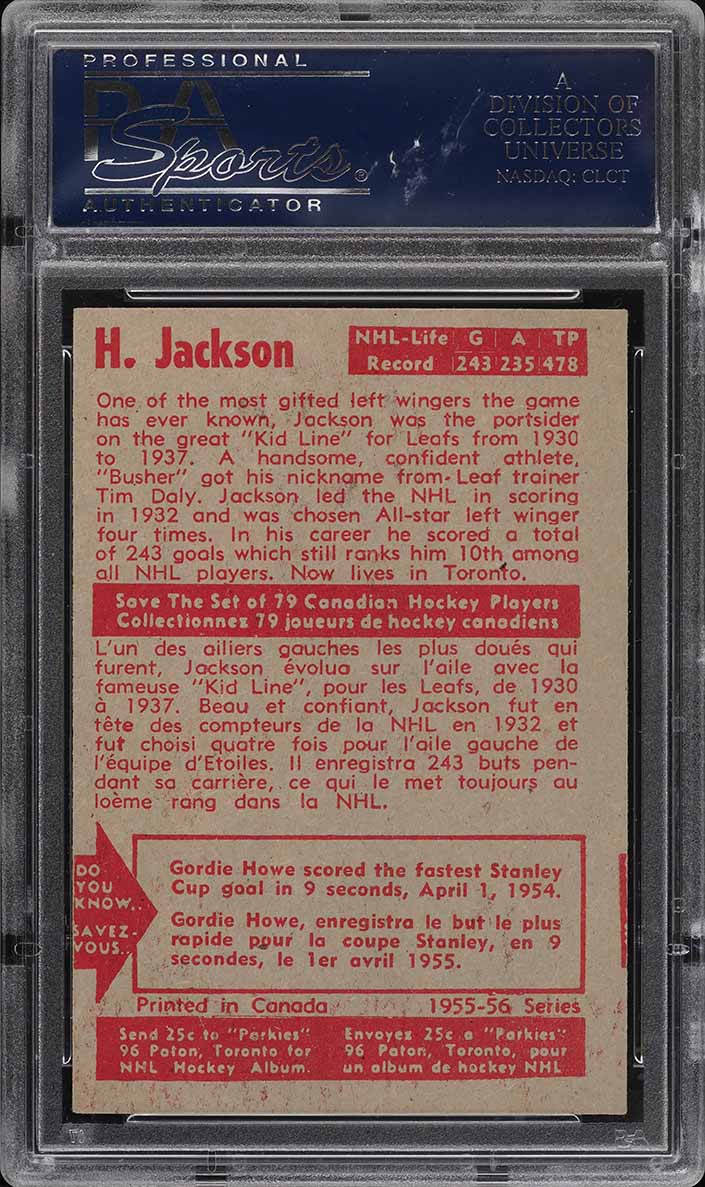 1955 Parkhurst Harvey Jackson #22 PSA 6 EXMT - Image 2