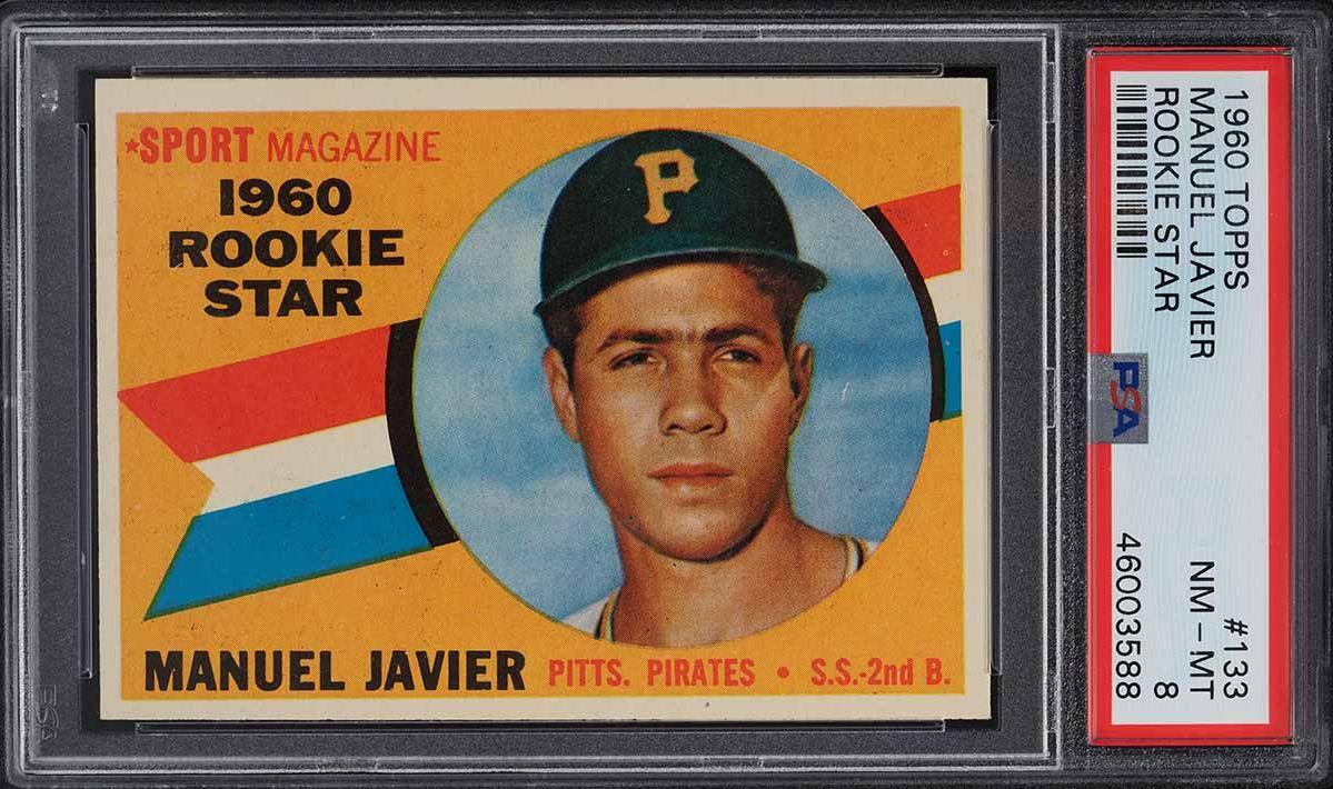 1960 Topps Manuel Javier ROOKIE RC #133 PSA 8 NM-MT - Image 1