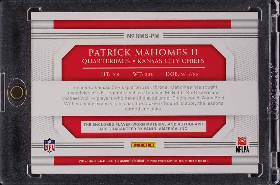 2017 National Treasures Holo Silver Patrick Mahomes RPA ROOKIE RC PATCH AUTO /25 - Image 2