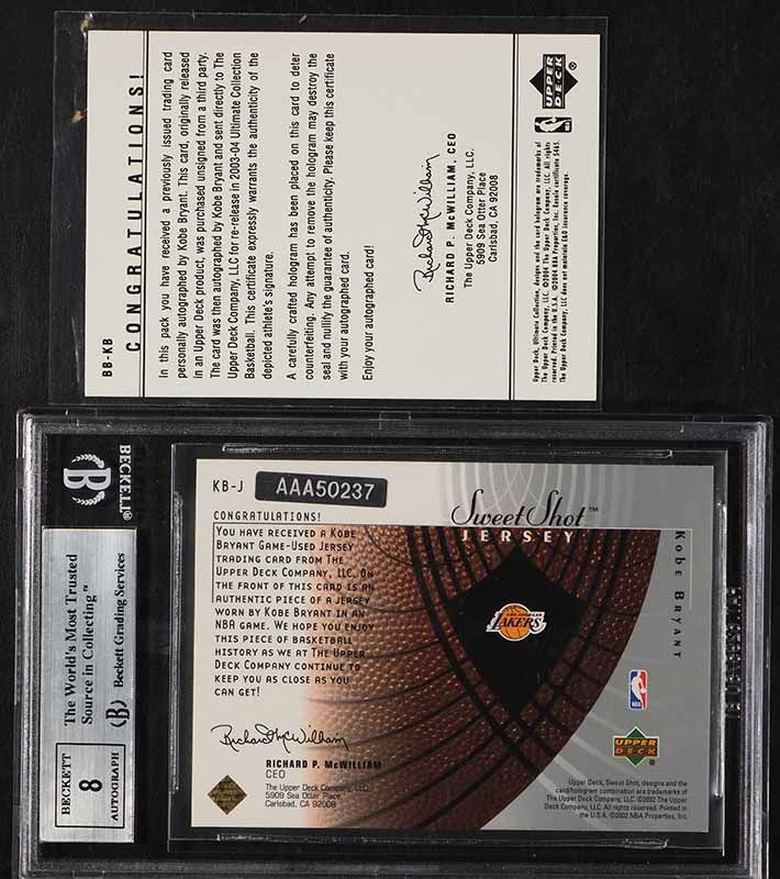 2003 Ultimate Collection Buybacks Kobe Bryant GAME-USED PATCH AUTO /8 BGS 8.5  - Image 2