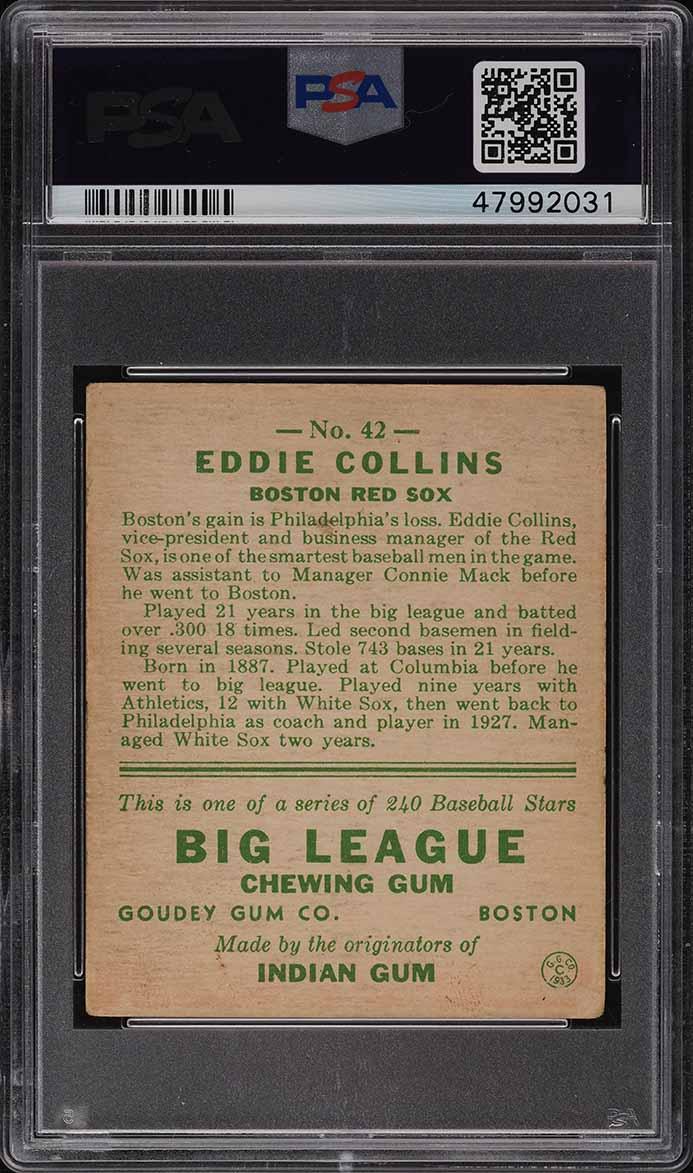 1933 Goudey Eddie Collins #42 PSA 3.5 VG+ - Image 2