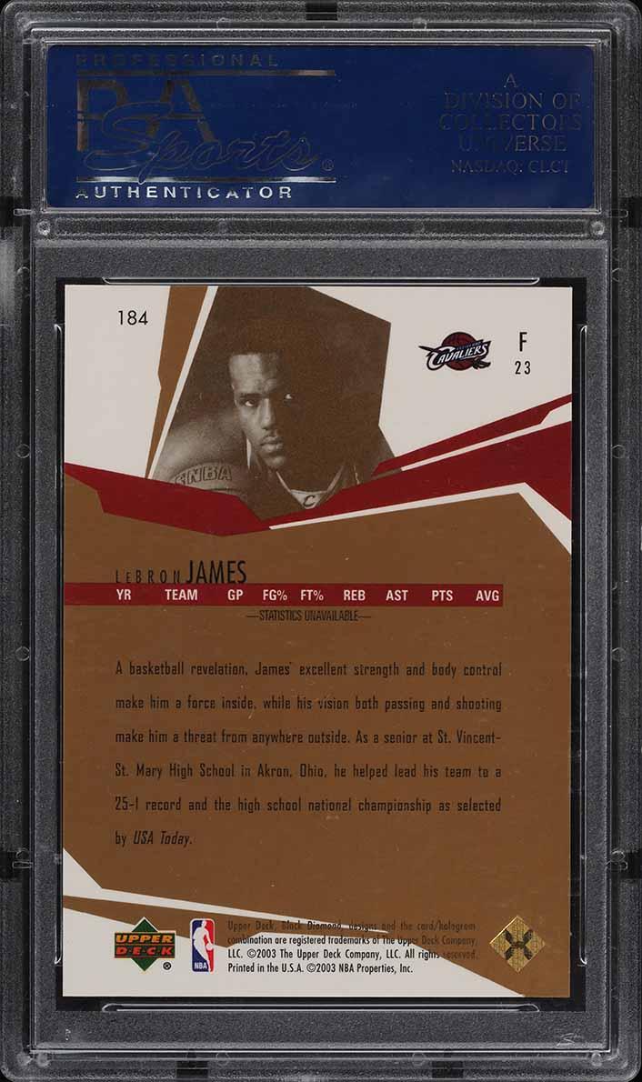 2003 UD Black Diamond Gold LeBron James ROOKIE RC /25 #184 PSA 10 GEM MT (PWCC) - Image 2