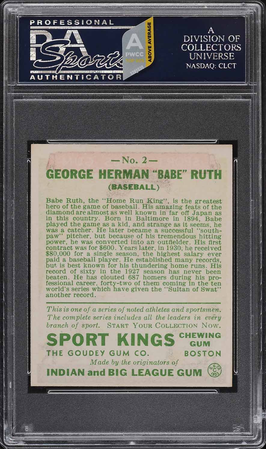1933 Goudey Sport Kings Babe Ruth #2 PSA 7 NRMT (PWCC-A) - Image 2