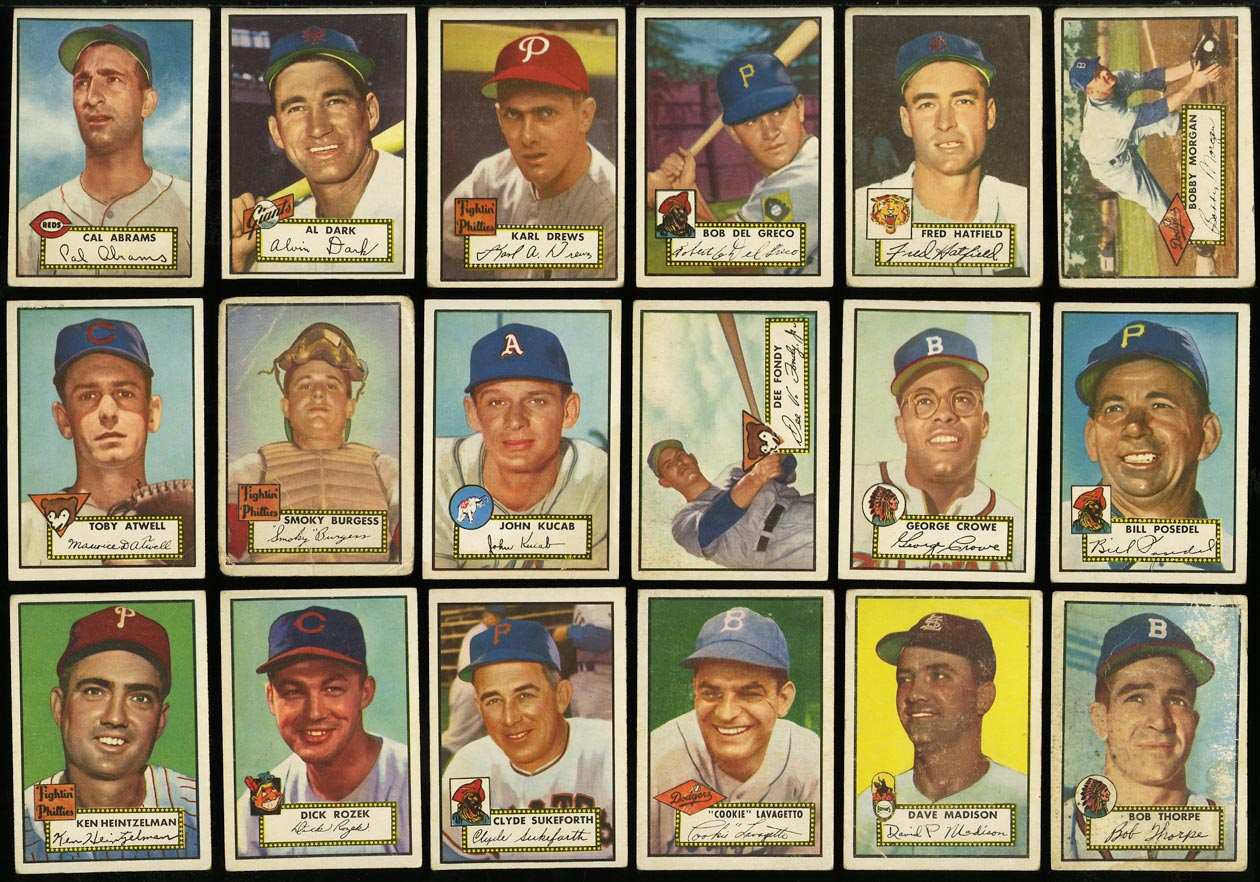 1952 Topps Lo-Mid Grd COMPLETE SET Mays Mathews Berra Robinson Mantle PSA (PWCC) - Image 14