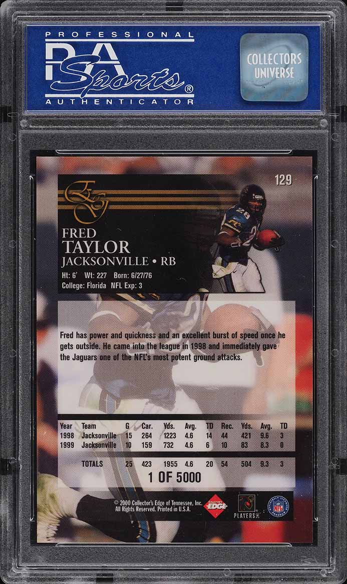 2000 Collector's Edge Graded Uncirculated Fred Taylor /5000 #129 PSA 9 MINT - Image 2