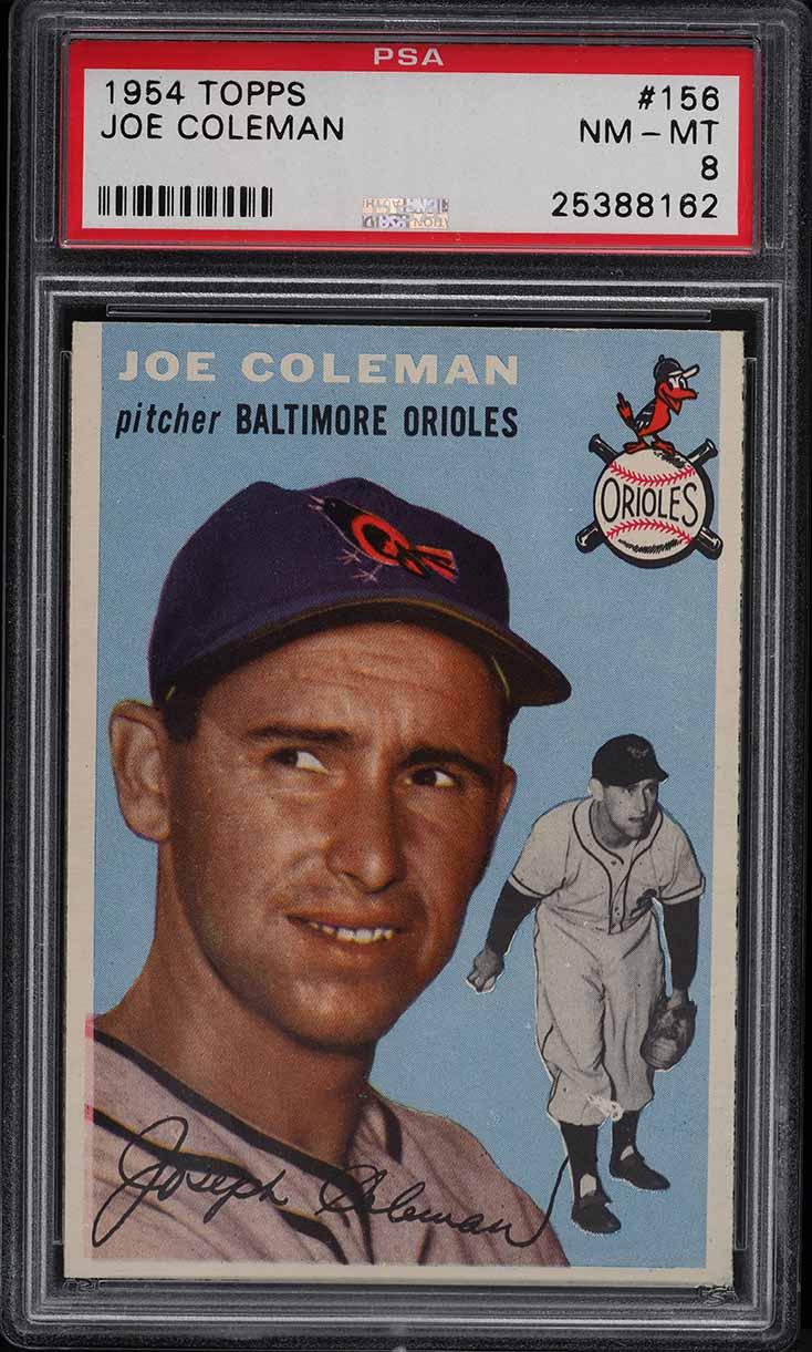 1954 Topps Joe Coleman #156 PSA 8 NM-MT - Image 1