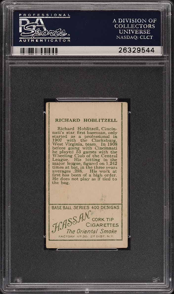 1911 T205 Gold Border Dick Hoblitzell NO STATS ON BACK PSA 2(mc) GD (PWCC) - Image 2