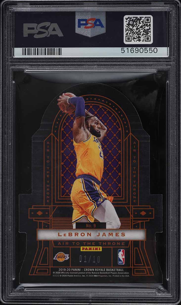 2019 Crown Royale Air To The Throne Gold Zion Williamson LeBron James 1/10 PSA 9 - Image 2