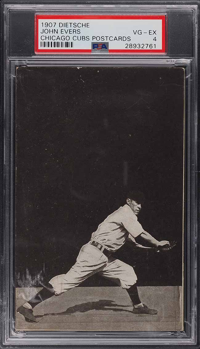 1907 Dietsche Chicago Cubs Postcards Johnny Evers PSA 4 VGEX - Image 1