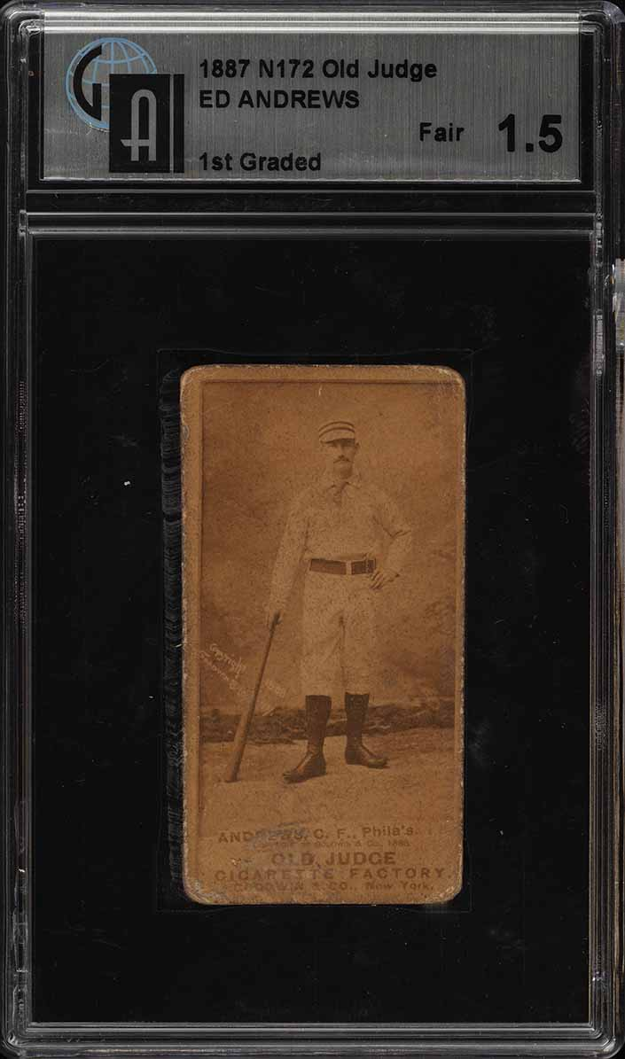 1887 N172 Old Judge Ed Andrews BAT IN RIGHT, HAND AT SIDE GAI 1.5 FR (PWCC) - Image 1