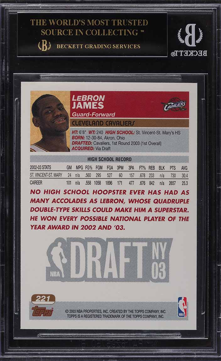 2003 Topps Basketball LeBron James ROOKIE RC #221 BGS 10 BLACK LABEL - Image 2