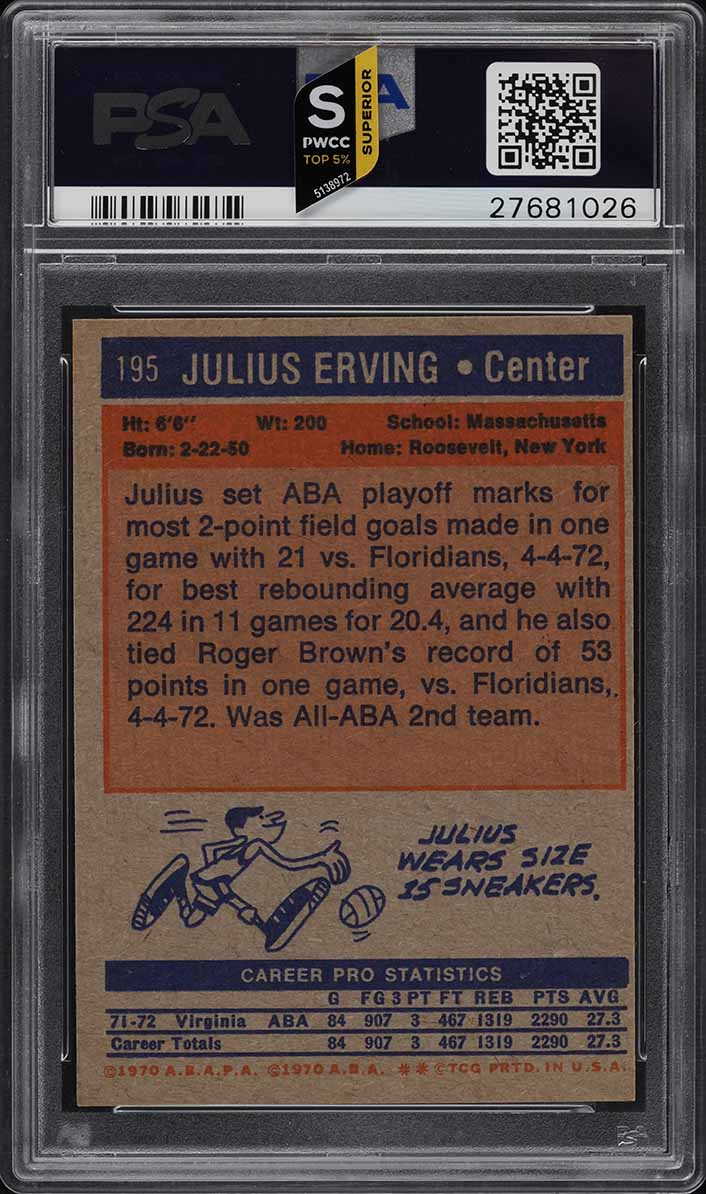 1972 Topps Basketball Julius Erving ROOKIE RC #195 PSA 7 NRMT (PWCC-S) - Image 2