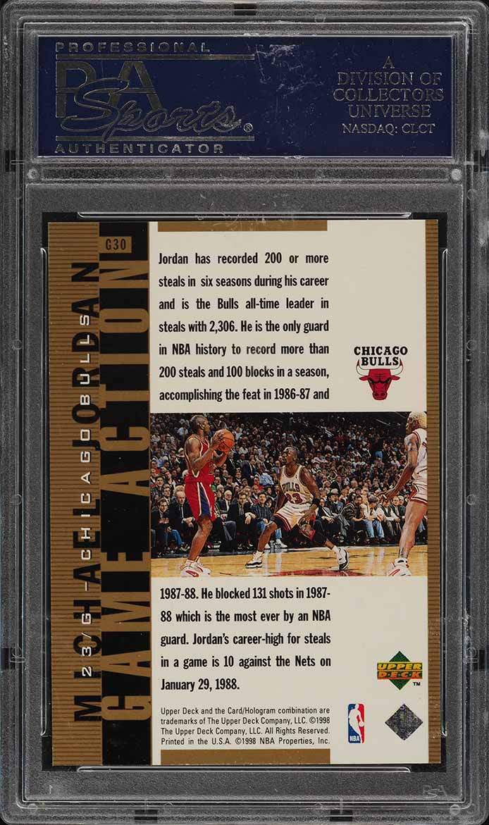 1998 UD MJ Living Legend Action Gold Michael Jordan /23 #G30 PSA 10 GEM (PWCC) - Image 2