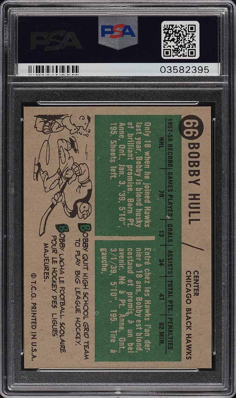 1958 Topps Hockey Bobby Hull ROOKIE RC #66 PSA 8 NM-MT (PWCC) - Image 2