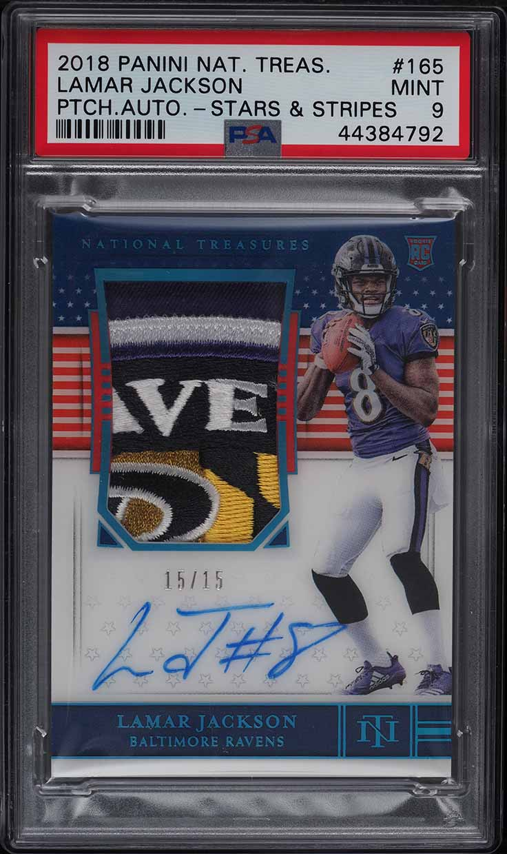 2018 National Treasures Stars Stripes Lamar Jackson ROOKIE PATCH AUTO /15 PSA 9 - Image 1