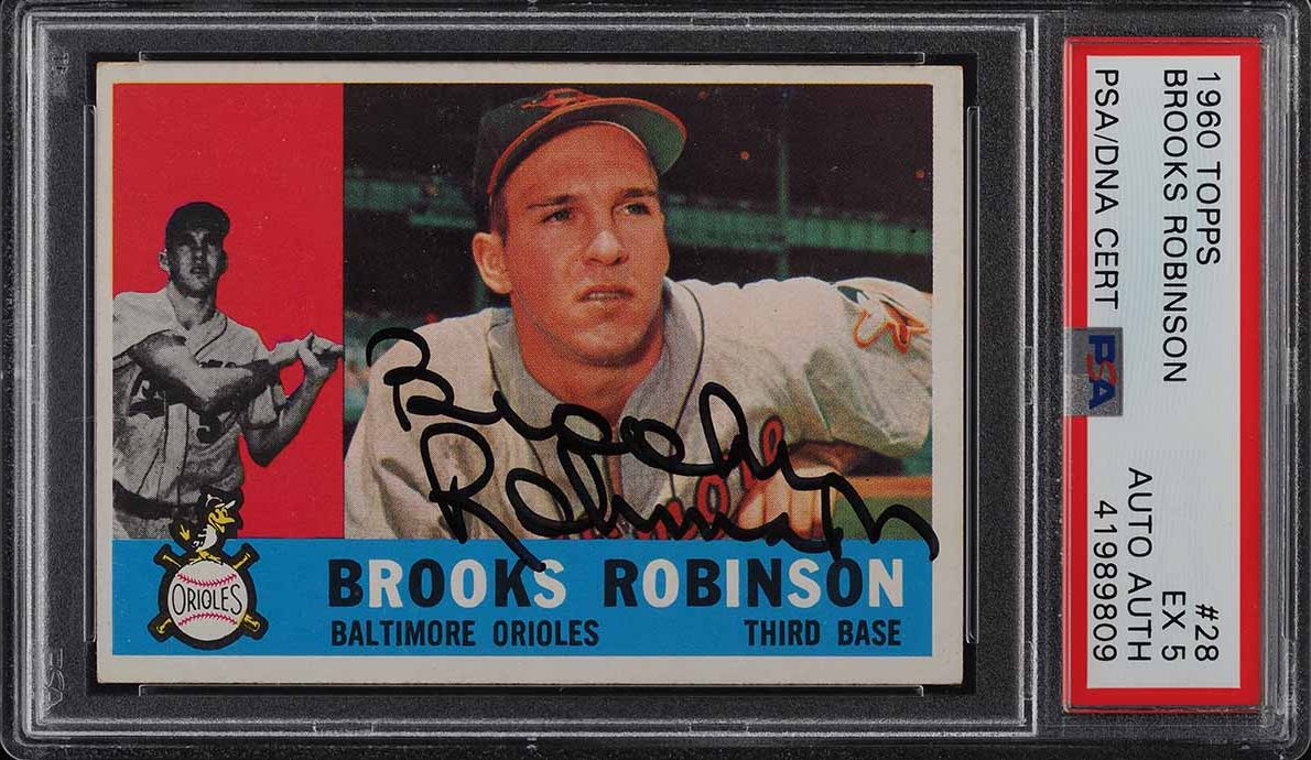 1960 Topps Brooks Robinson PSA/DNA AUTO #28 PSA 5 EX - Image 1