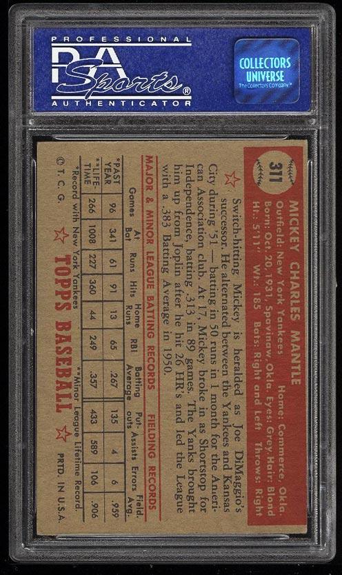 1952 Topps SETBREAK Mickey Mantle #311 PSA 5 EX (PWCC) - Image 2