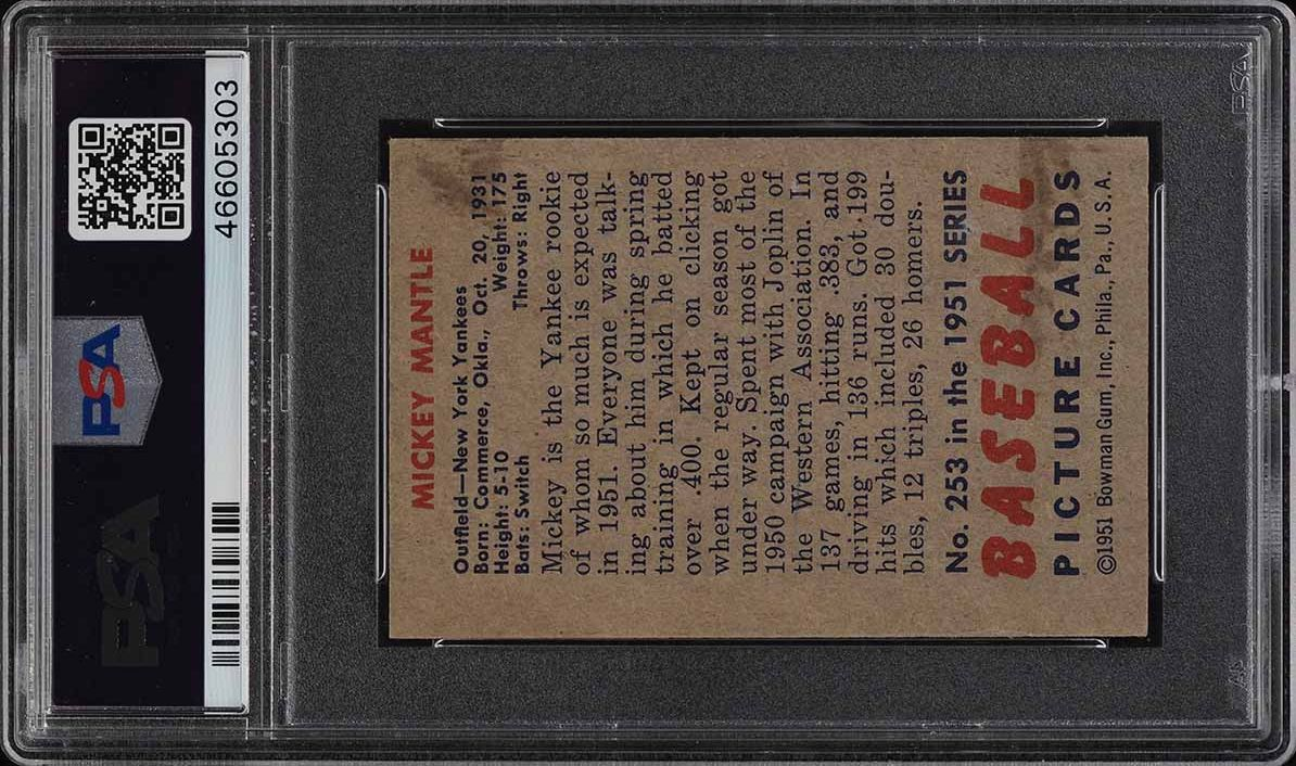1951 Bowman Mickey Mantle ROOKIE RC #253 PSA 4 VGEX - Image 2