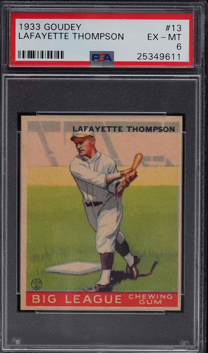 1933 Goudey Lafayette Thompson #13 PSA 6 EXMT - Image 1