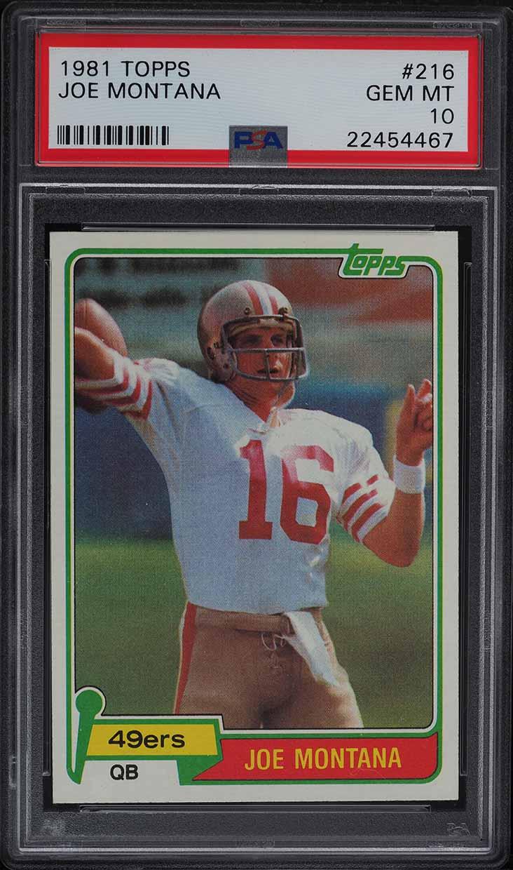1981 Topps Football Joe Montana ROOKIE RC #216 PSA 10 GEM MINT - Image 1