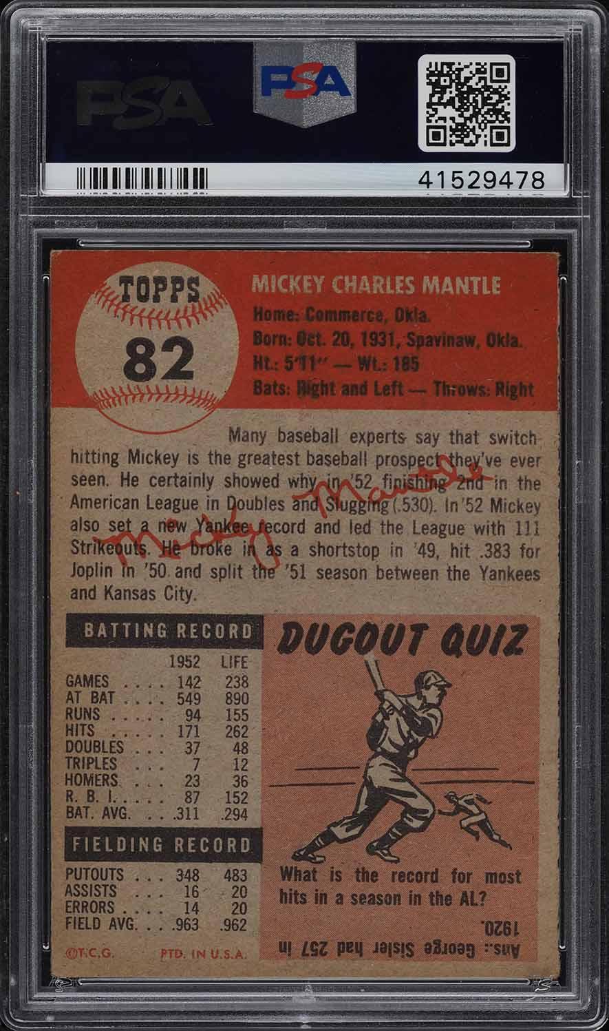 1953 Topps Mickey Mantle SHORT PRINT #82 PSA 6.5 EXMT+ (PWCC) - Image 2