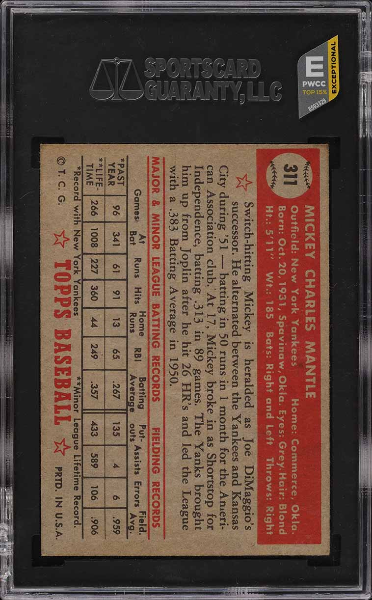 1952 Topps Mickey Mantle #311 SGC 6.5 EXMT+ (PWCC-E) - Image 2