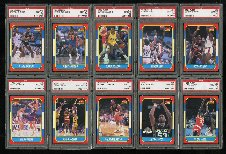 1986 Fleer Basketball COMPLETE PSA 10 SET Johnny Moore Michael Jordan RC (PWCC) - Image 8