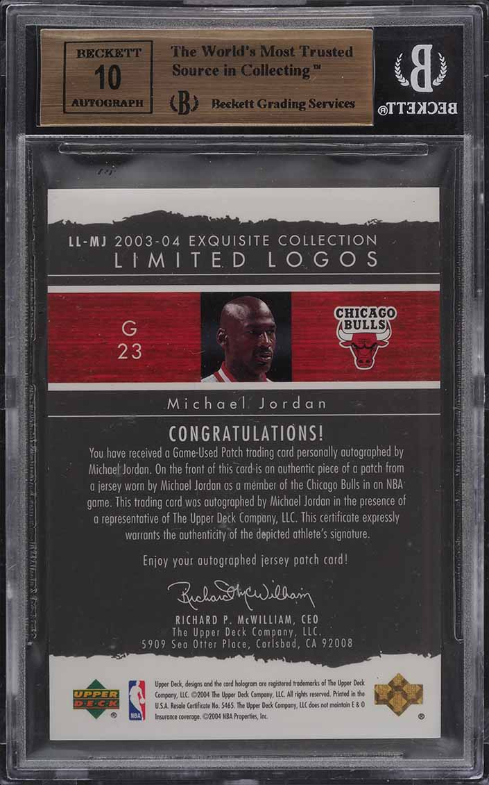 2003 Exquisite Collection Limited Michael Jordan PATCH AUTO /75 BGS 9.5 (PWCC) - Image 2