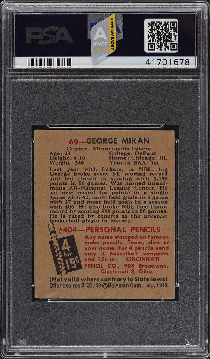 1948 Bowman Basketball George Mikan ROOKIE RC #69 PSA 6.5 EXMT+ (PWCC-A) - Image 2
