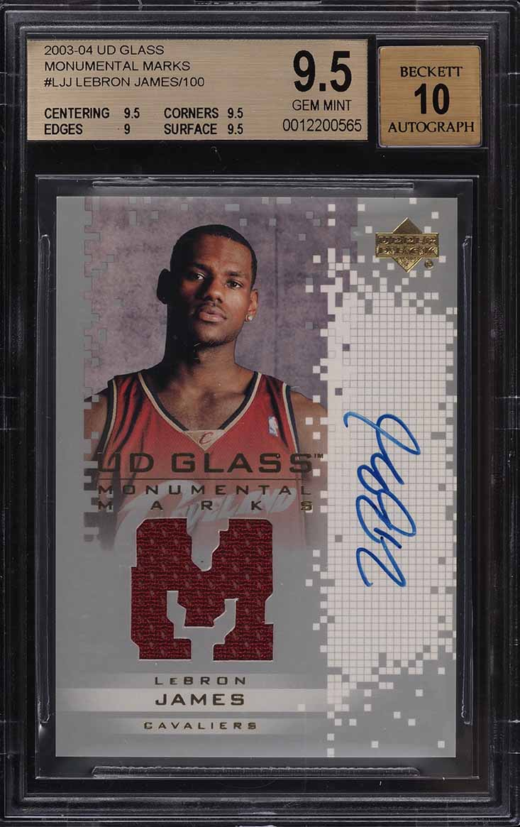 2003 Upper Deck Glass Monumental Marks LeBron James RC PATCH AUTO /100 BGS 9.5 - Image 1
