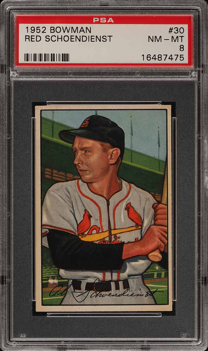 1952 Bowman SETBREAK Red Schoendienst #30 PSA 8 NM-MT (PWCC) - Image 1