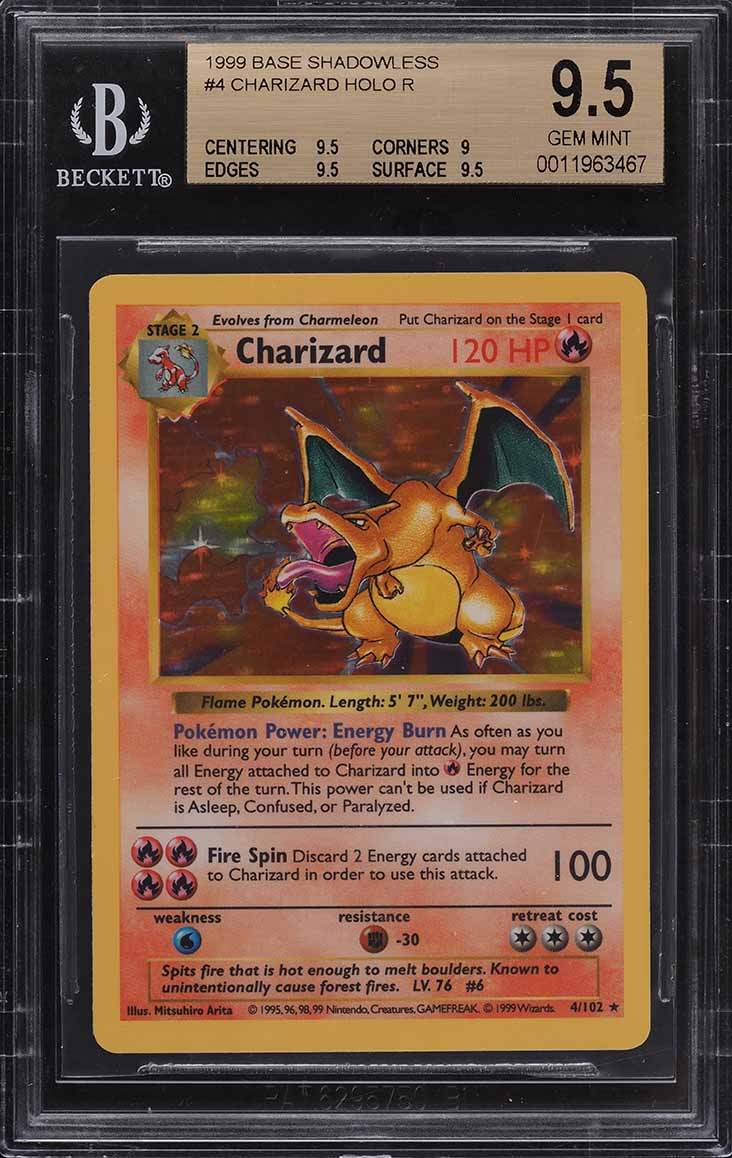 1999 Pokemon Game Shadowless Holo Charizard #4 BGS 9.5 GEM MINT - Image 1