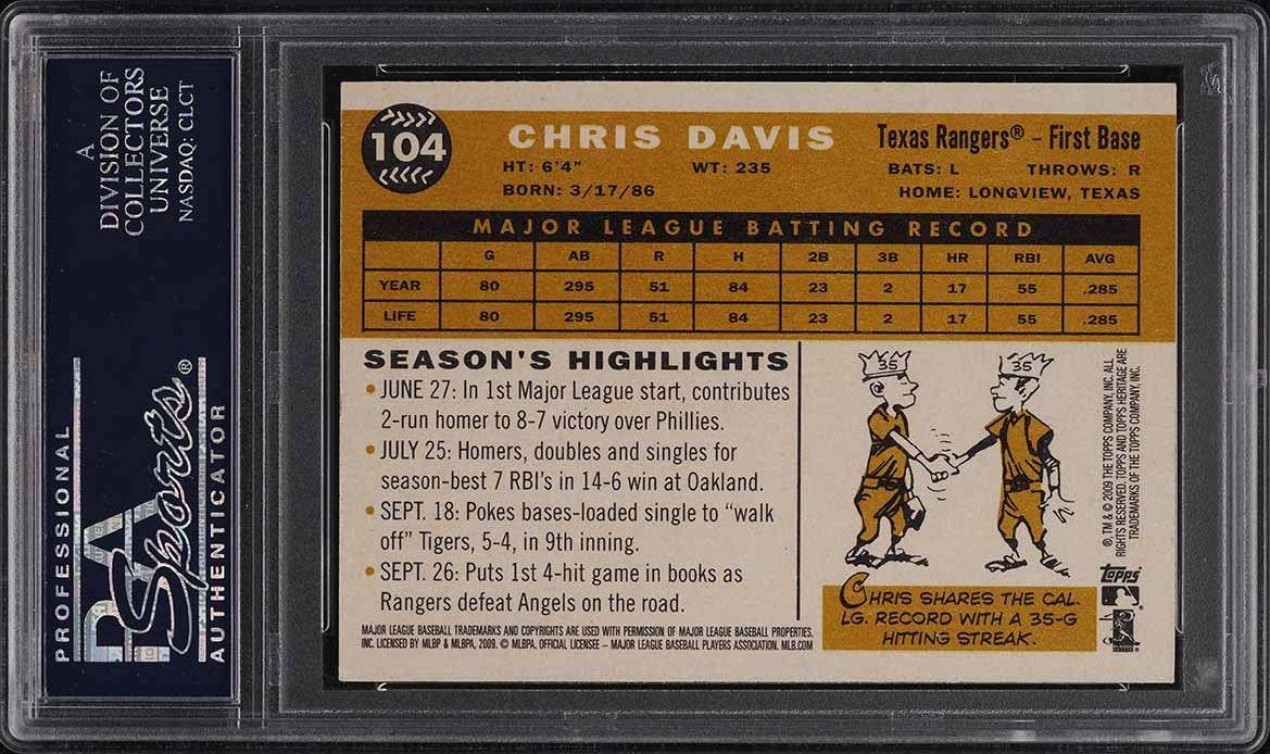 2009 Topps Heritage Chris Davis PSA/DNA 9 AUTO #104 PSA Auth - Image 2