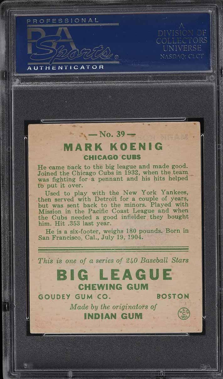 1933 Goudey Mark Koenig #39 PSA 6 EXMT - Image 2