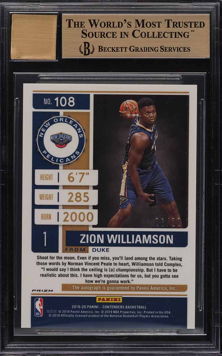 2019 Panini Contenders Blue Shimmer Zion Williamson RC AUTO /20 BGS 9.5 (PWCC) - Image 2
