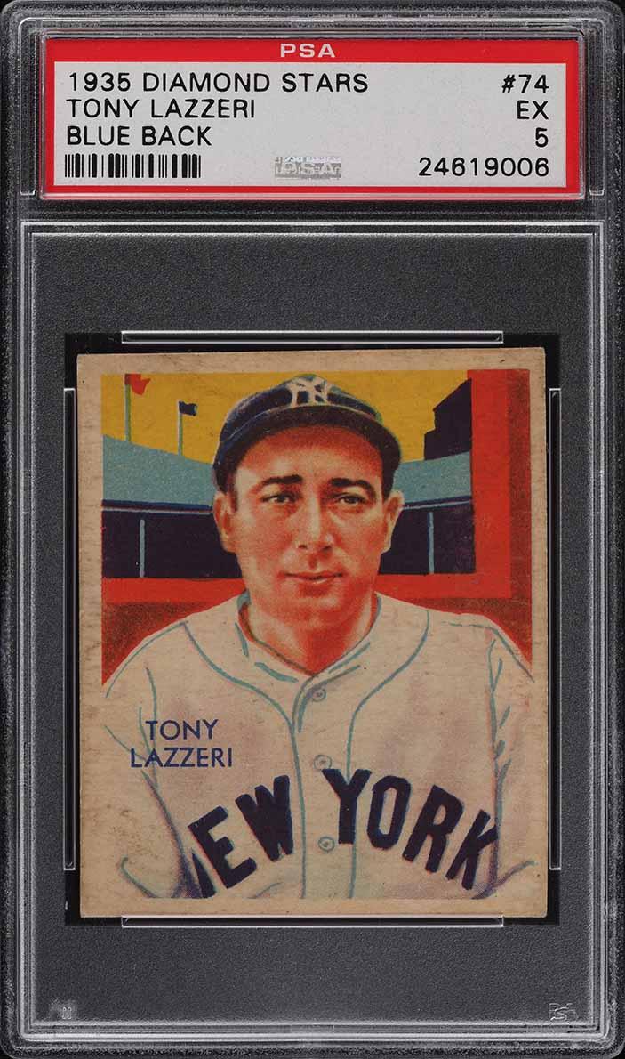 1935 Diamond Stars Tony Lazzeri BLUE BACK #74 PSA 5 EX - Image 1
