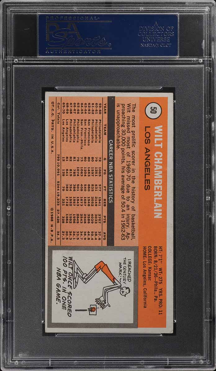 1970 Topps Basketball Wilt Chamberlain SIGNED AUTO #50 PSA/DNA Auth (PWCC) - Image 2