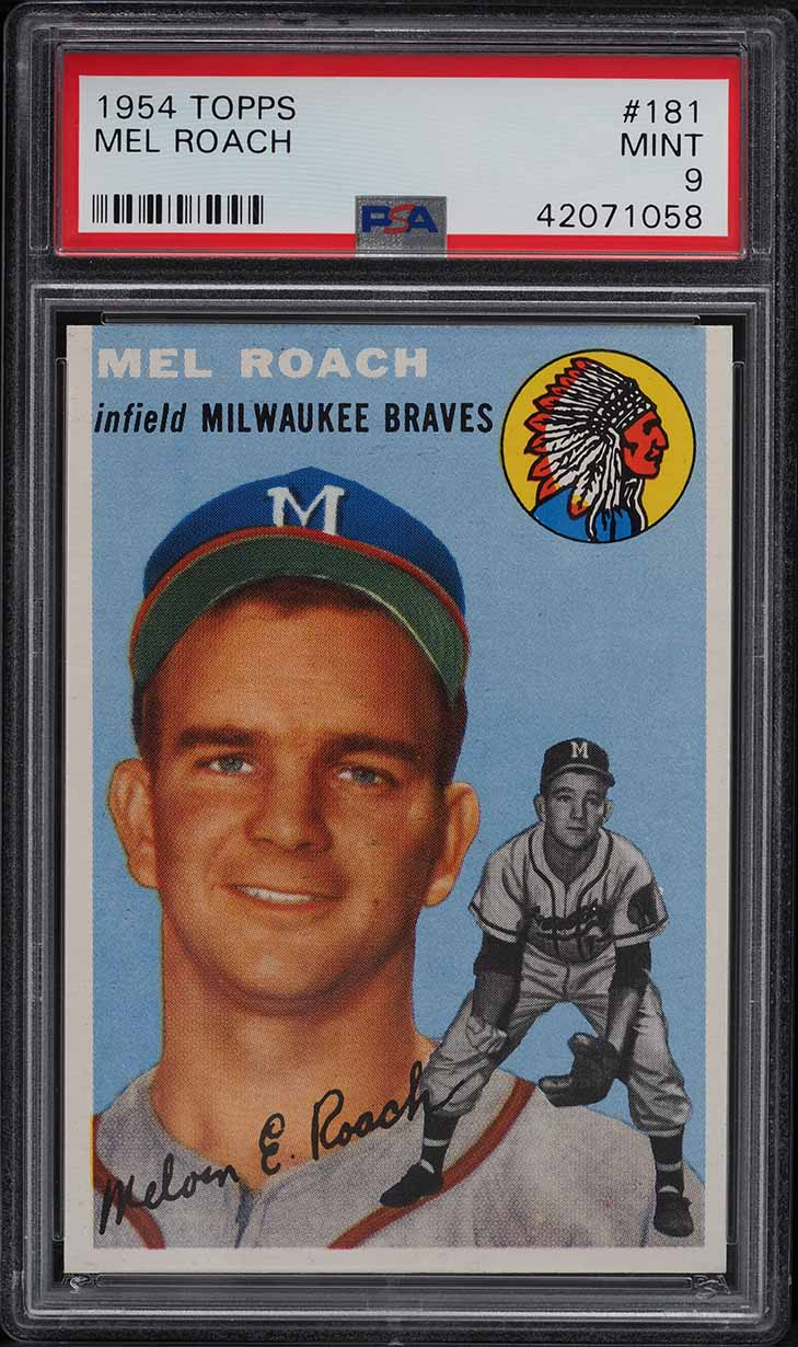 1954 Topps Mel Roach #181 PSA 9 MINT - Image 1