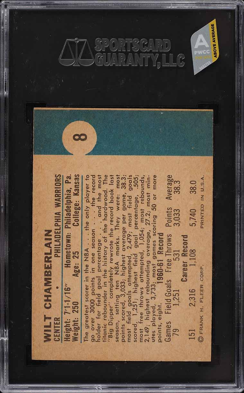 1961 Fleer Basketball Wilt Chamberlain ROOKIE RC #8 SGC 7.5 NRMT (PWCC-A) - Image 2
