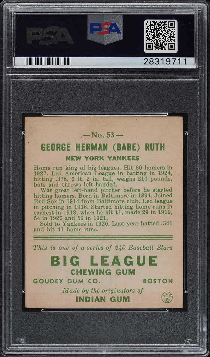 1933 Goudey Babe Ruth #53 PSA 4.5 VGEX+ (PWCC) - Image 2