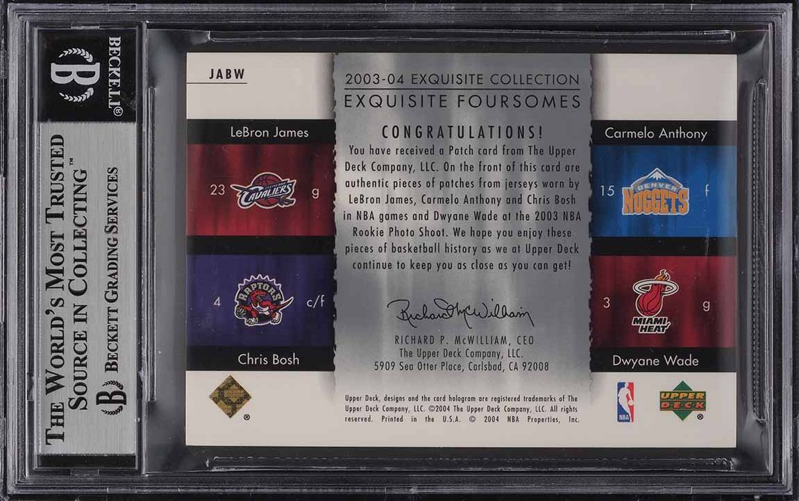 2003 Exquisite Foursome LeBron James Anthony Bosh Wade ROOKIE PATCH 8/10 BGS 8.5 - Image 2