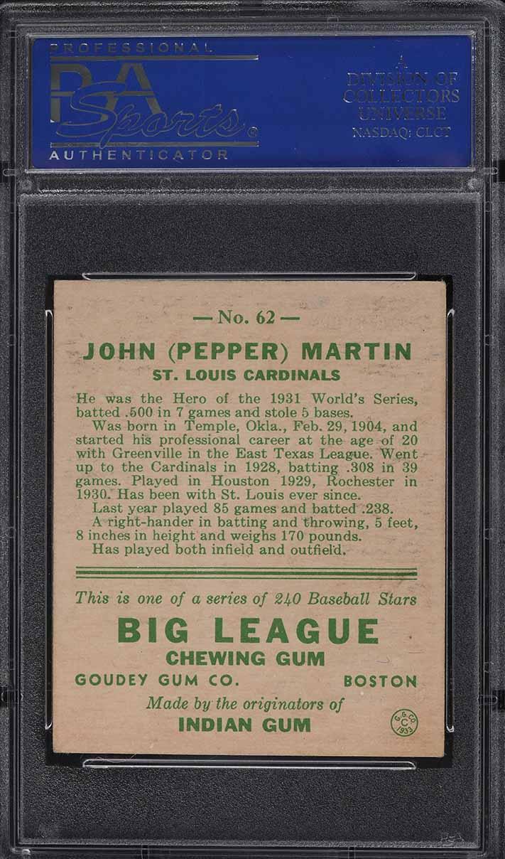 1933 Goudey Pepper Martin #62 PSA 6 EXMT - Image 2