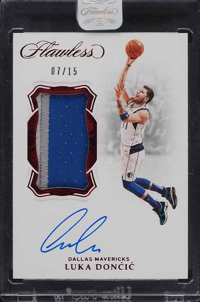2018 Panini Flawless Ruby Luka Doncic ROOKIE RC 3-CLR PATCH AUTO /15 - Image 1