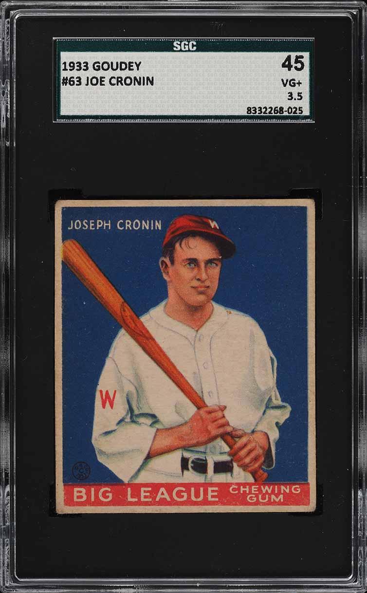 1933 Goudey Joe Cronin #63 SGC 3.5 VG+ (PWCC) - Image 1