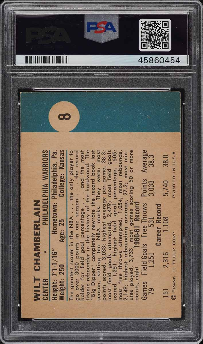 1961 Fleer Basketball Wilt Chamberlain ROOKIE RC #8 PSA 7.5 NRMT+ - Image 2