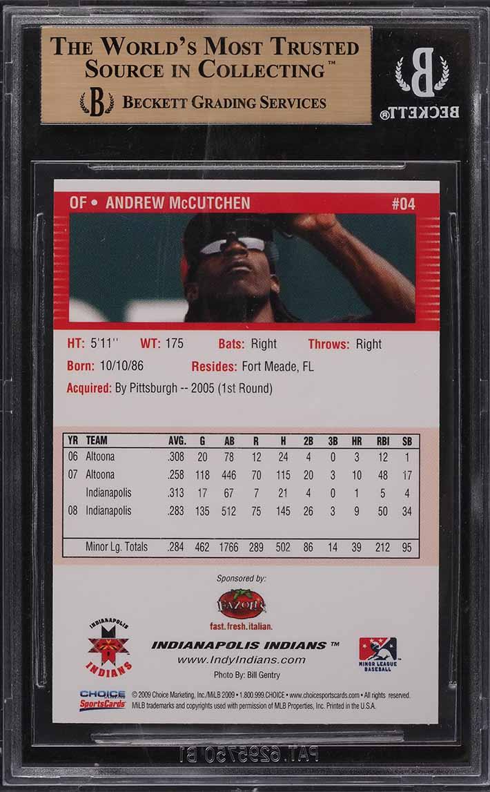 2009 Indianapolis Indians Choice Andrew McCutchen ROOKIE RC #18 BGS 9.5 GEM MINT - Image 2