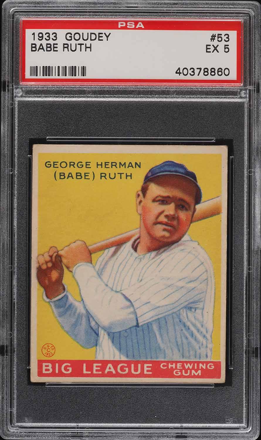 1933 Goudey Babe Ruth #53 PSA 5 EX (PWCC-A) - Image 1