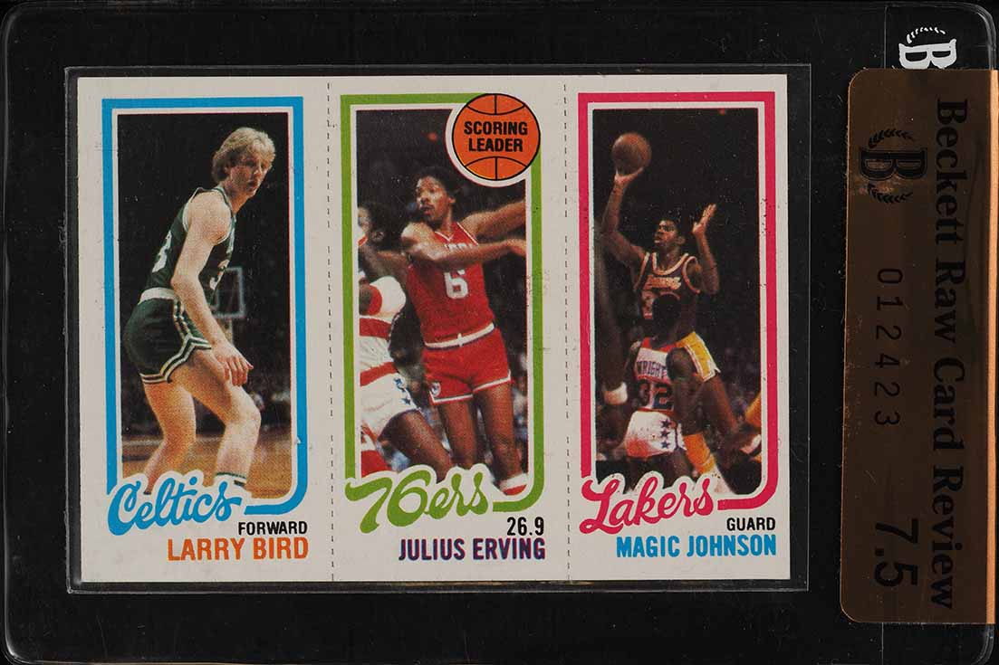 1980 Topps Basketball Larry Bird & Magic Johnson ROOKIE RC BGS Raw 7.5 (PWCC) - Image 1