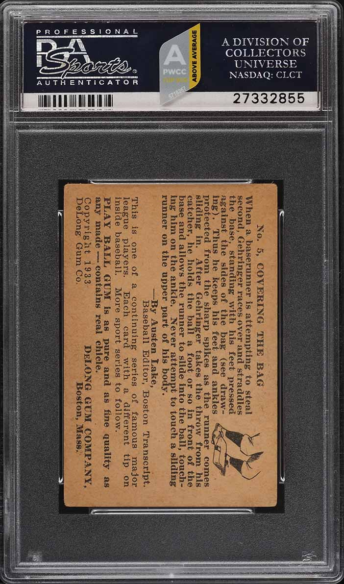 1933 DeLong Charlie Gehringer #5 PSA 3 VG (PWCC-A) - Image 2